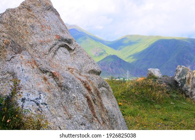 """Sno, Georgia - 08 08 2018: sculptures in the form of """"Stone Faces"""" in the open-air village of SNO in the mountains of Georgia. They represent the faces of the most respected writers of Georgia"""