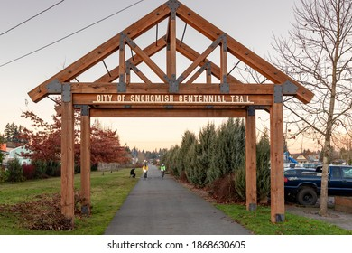 Snohomish WA. USA, 12-04-2020: Snohomish Centennial Trail Head Used For Bicycle Riders, Walkers, Joggers