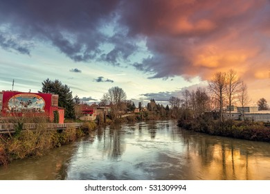 """Snohomish, WA, USA - Dec 04, 2016: Snohomish prides itself for its historical downtown, and is known for its many antique shops. Snohomish is also known as the """"Antique Capital of the Northwest""""."""