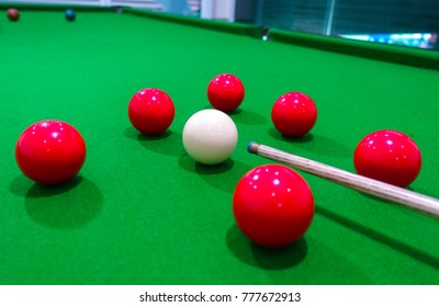 snooker ball on the green snooker table.