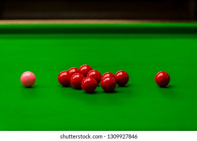 Snooker ball on snooker table, Snooker or Pool game on green table, International sport