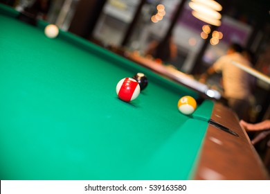 Snooker ball roll on the snooker pool table after shot