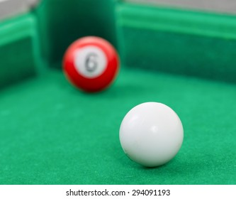 Snooker balls on a green snooker table