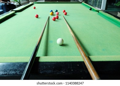 Snooker balls on the table at snooker club.