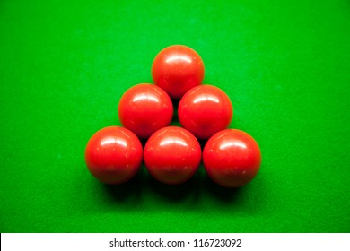 Snooker balls,six balls on the table. Snooker balls in the middle of the picture.