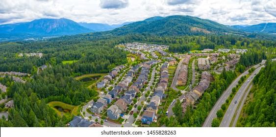 Snoqualmie Ridge Washington USA Aerial Overview Mountain Forest Community Suburban Neighborhood Housing Development