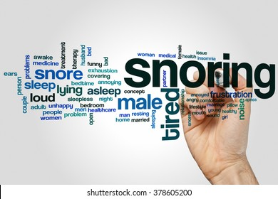 Snoring word cloud concept with sleep noise related tags