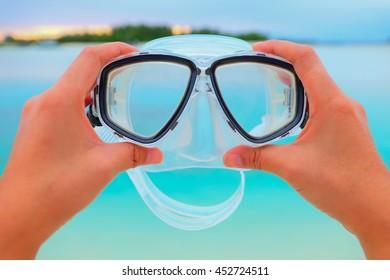 snorkel with blue beach