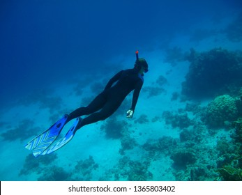 Snorkeler swimming in the ocean. Tropical ocean and swimmer. Underwater photography from snorkeling on the coral reef. Corals and snorkeling tourist.