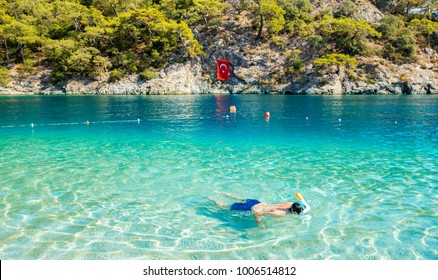 Snorkeling in Blue Lagoon in Oludeniz, Turkey