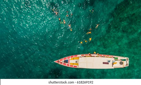 Snorkeling boat aerial view