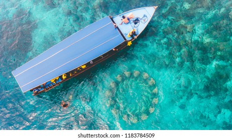 Snorkeling boat prepare to enjoy underwater view of Gili Meno, Lombok, Indonesia