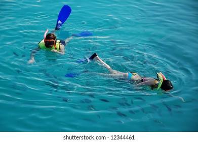 Snorkeling children in a pool