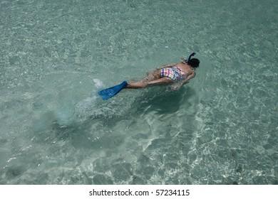 Snorkeling in clear water