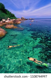 Snorkeling in the crystal clear waters and beautiful at Koh Tao Thailand This is Award winning picture.