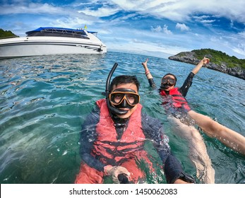 Snorkeling funny vacation in the summer holiday.