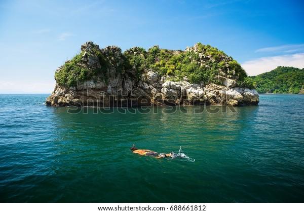 Snorkeling Isla Tortuga Costa Rica Stock Photo Edit Now 688661812