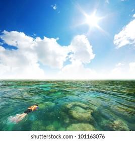snorkeling in the island sea sand sun beach in thailand