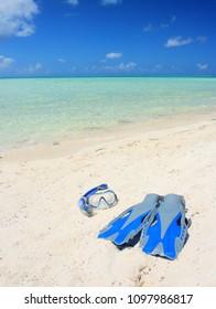 Snorkeling in Tahitian beach