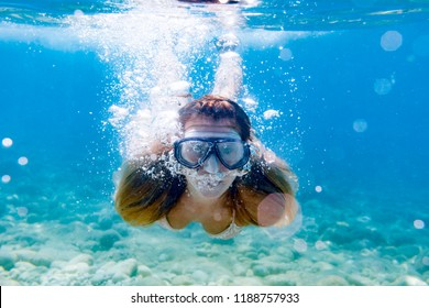 Snorkeling underwater in the tropical sea
