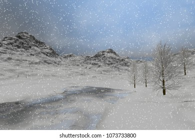 Snow, 3D rendering, a winter landscape, fog and haze over the lake, coniferous trees and a cloudy sky.