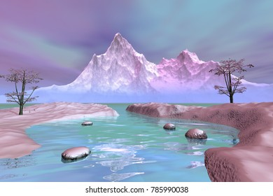 Snow, 3D rendering, a winter landscape, a beautiful lake, trees, mountains and a cloudy sky.