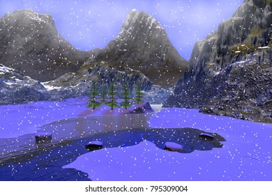 Snow, 3D rendering, a winter landscape, a river among the mountains,  coniferous trees and fog in the sky.