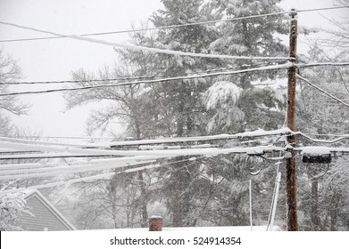 snow accumulated on power line after snow storm