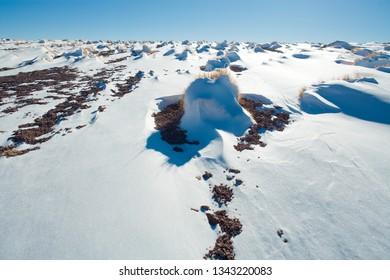 Snow in the Altiplano (High Andean Plateau), Los Flamencos National Reserve, Atacama desert, Antofagasta Region, Chile, South America