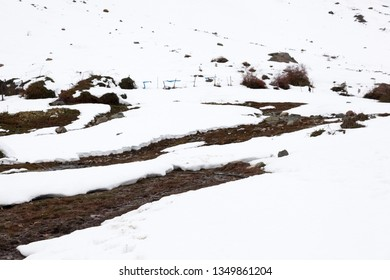 Snow in Andes mountains. chile