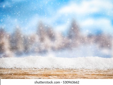 snow background light floor cold empty blue wooden space forest white table xmas top plank season wood card january frost falling concept - stock image