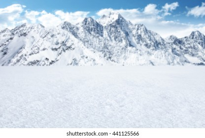 snow background and mountains and free place