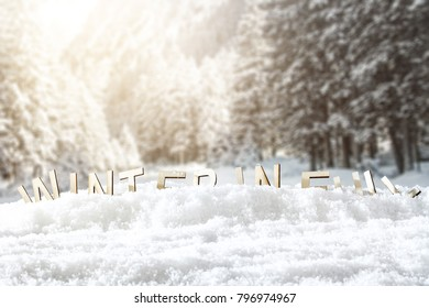 Snow background and text of winter