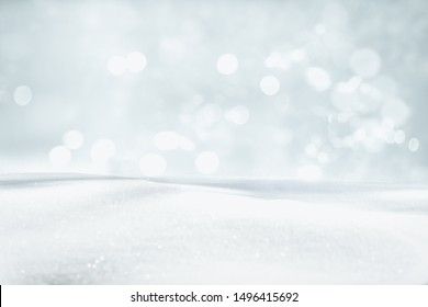 SNOW AND BOKEH LIGHTS BACKGORUND, CHRISTMAS OR WINTER PATTERN, BACKDROP FOR PRODUCTS OR PRESENTS - Shutterstock ID 1496415692