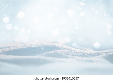 SNOW AND BOKEH LIGHTS WITH FALLING SNOW FLAKES, CHRISTMAS BACKDROP FOR MONTAGE