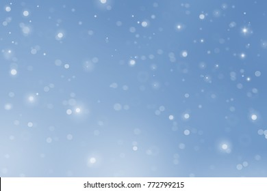 Snow bokeh one blue  background for Christmas