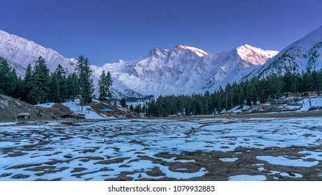 Snow cap Nanga Parbat mountain with sunset light up and snow frost on the ground at Fairy meadows, Gilgit, Balistan, Pakistan