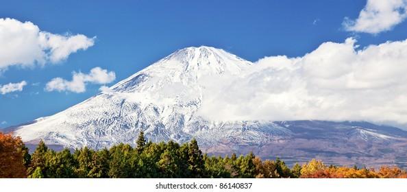 Snow capped Mount Fuji in autumn