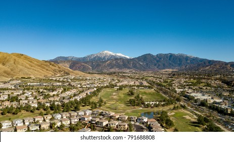Snow Capped Mount San Gorgonio above Yucaipa Valley Golf Course, San Bernardino Mountains, Southern California