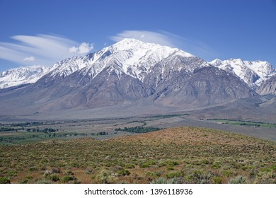 snow capped Mount Tom rises above Round Valley in the Owens Valley of California
