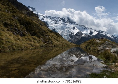 Snow capped mountain peak reflecting in small lake