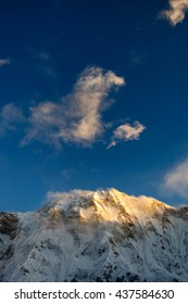 Snow capped mountains in Annapurna Sanctuary, Nepal in pre-monsoon season. Annapurna is a massif in the Himalayas
