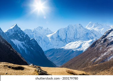 Snow capped mountains. Himalaya, Nepal