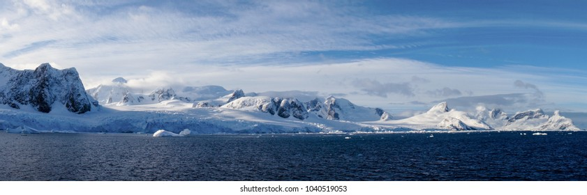 Snow Capped Mountains in the Lemaire Channel, Antarctica.