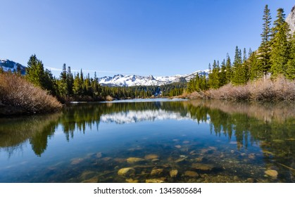 Snow capped mountains reflected on pond.