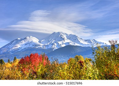 Snow capped Mt. Shasta in fall.