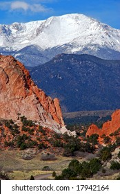 Snow capped Pikes Peak at the east entrance into the Garden of the Gods near Colorado Springs, Colorado