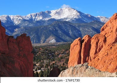 Snow Capped Pikes Peak Soaring over the Garden of the Gods near Colorado Springs, Colorado in Winter