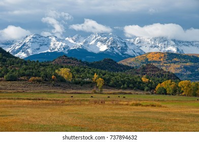 Snow capped San Juan Mountains near Ridgway Colorado