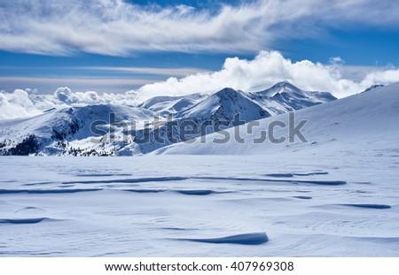 Snow carpet in mountains